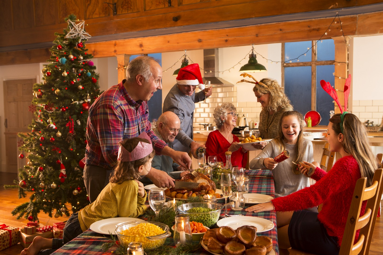 family gathered around the table for holiday meal
